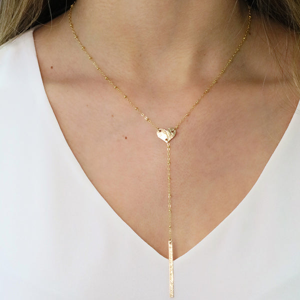 taudrey set the bar hammered heart beaded chain lariat plunge bar detail