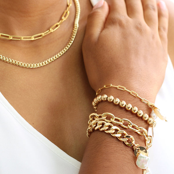 taudrey bold lady cuban link chain bracelet pearl detail