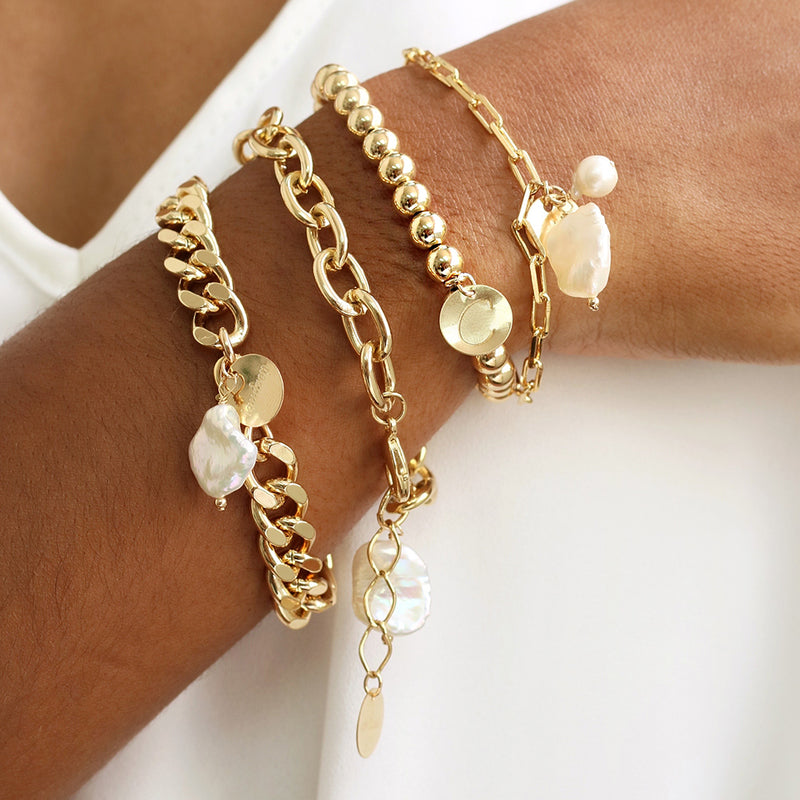 taudrey bold as you feel rounded cable link chain bracelet pearl detail
