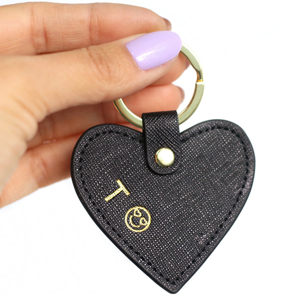 taudrey love lock key chain black leather personalized