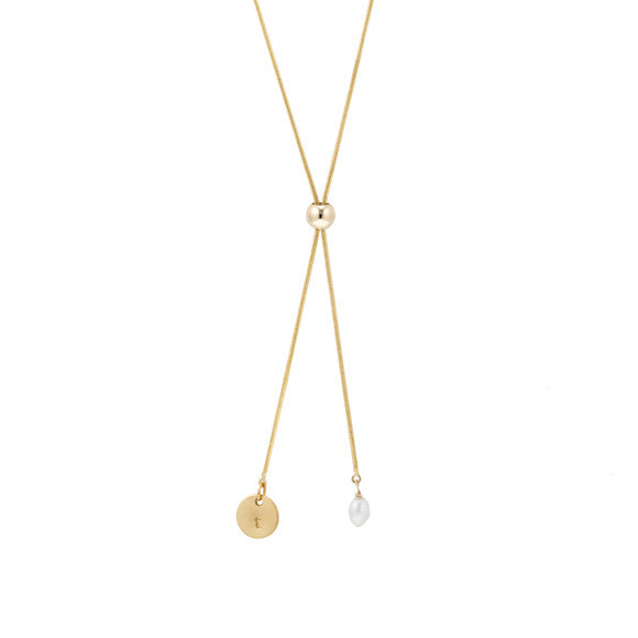 taudrey let it slide short necklace gold chord personalized charm