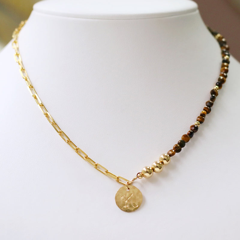 taudrey lets mingle necklace paper clip link chain gold beads brown tortoise beads textured personalized charm