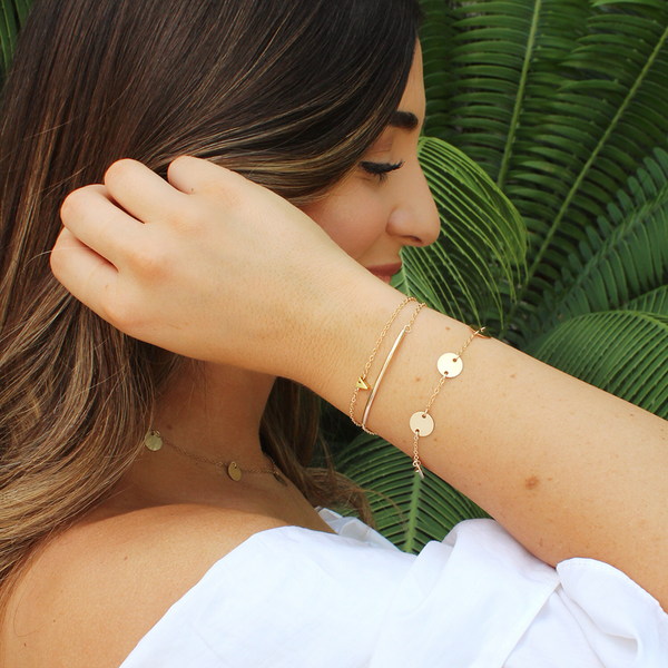 taudrey blogger collab laura vila miami blogger personalized gold bracelet set