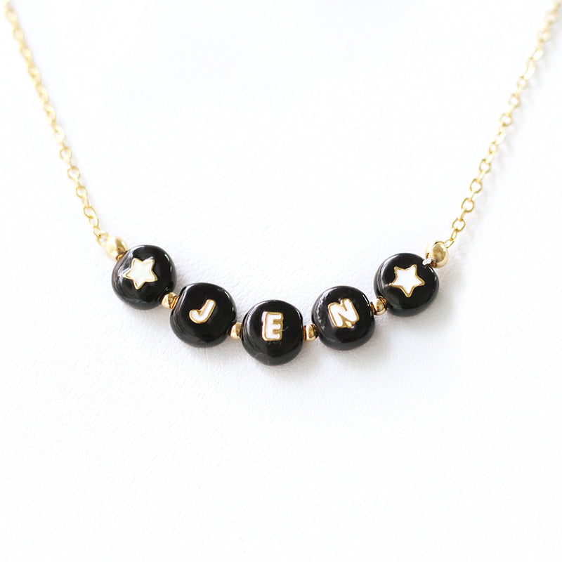 taudrey show and tell black letterblock personalized necklace