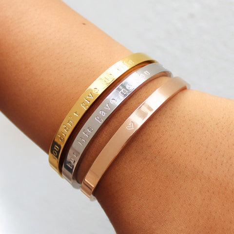taudrey mother's day you didn't give me life but life gave me you personalized bangle set