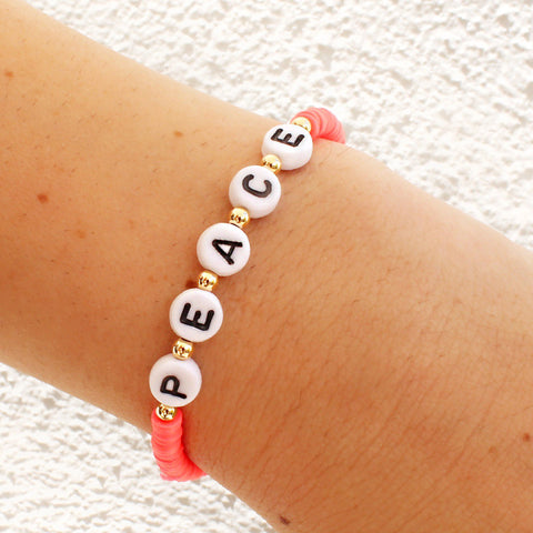 taudrey lifes a beach bracelet set neon bright stacked beaded bracelet personalized letter blocks