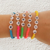 taudrey lifes a beach bracelet set neon bright stacked beaded bracelet personalized letter blocks styled