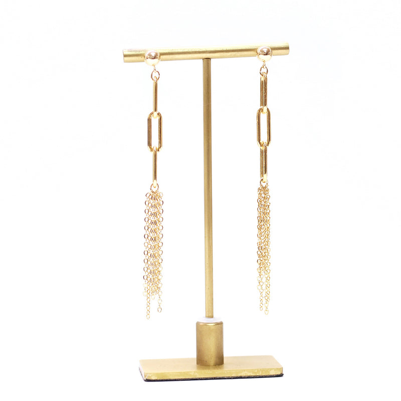 taudrey link together duster chain link statement earrings