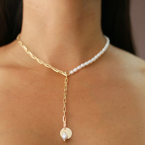 taudrey link up necklace wide link pearls plunge pearl textured charm accent