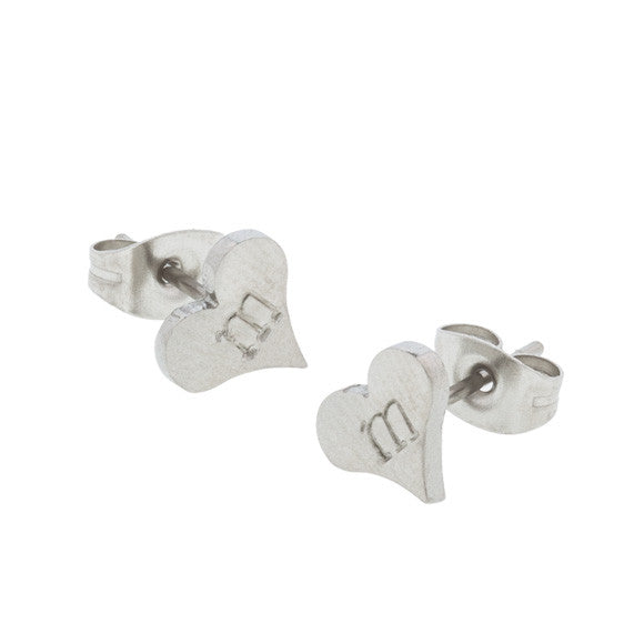 taudrey listen to your heart studs silver heart shaped earrings