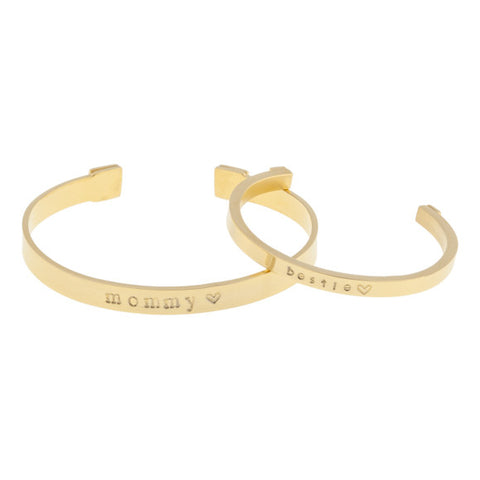 taudrey little bestie mommy and me personalized gold cuff set
