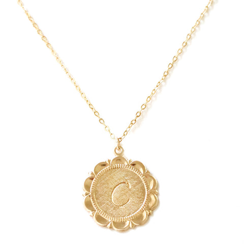 taudrey little extra necklace personalized stamped medallion initial necklace