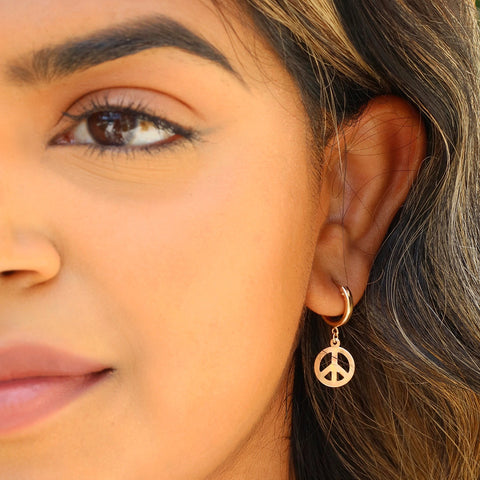 taudrey little peace small gold hoop peace sign charm earrings