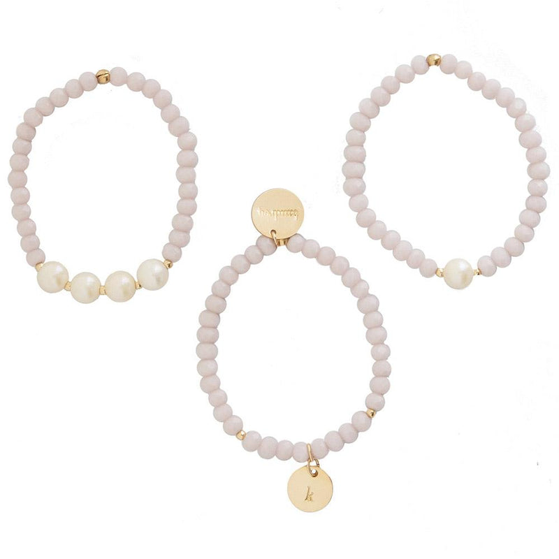 taudrey kids little pearls rule lavender beaded bracelet set pearl details personalized gold charm