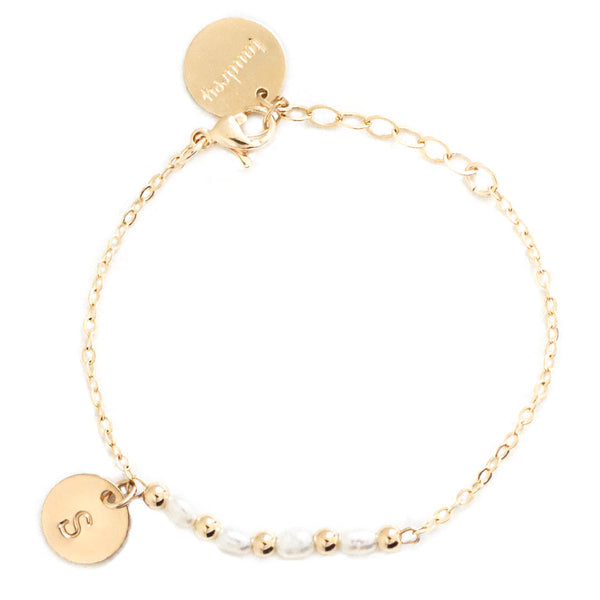 taudrey kids girls little pretty bracelet pearl gold bead accented personalized gold charm