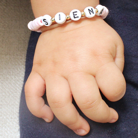 taudrey kids baby pink beaded bracelet personalized letter name blocks