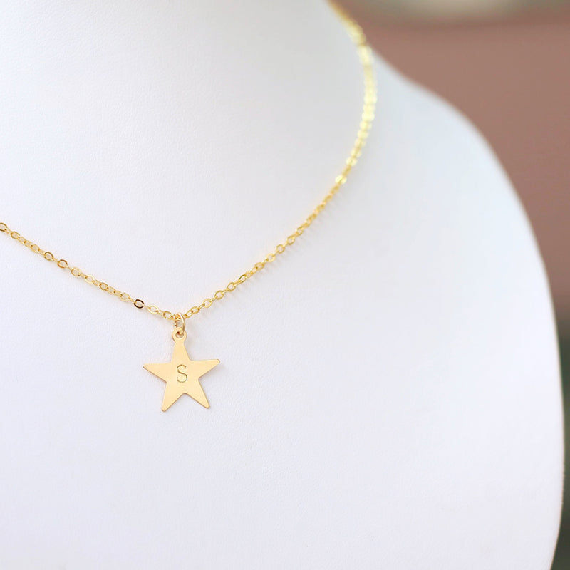 taudrey lone star personalized star charm dainty gold chain