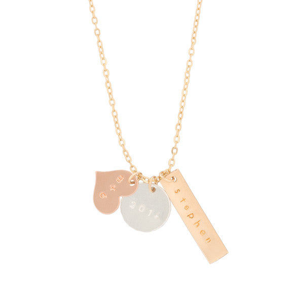 taudrey long mixed and metals necklace three personalized charms rose gold gold silver