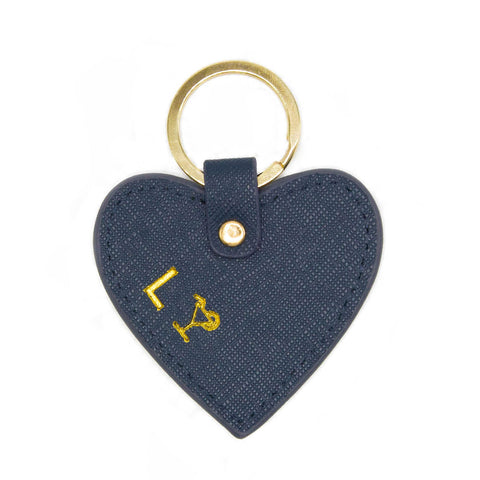 taudrey cross-hatch leather heart shaped key chain personalized embossed gold silver details gold ring navy leather
