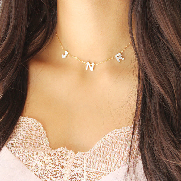 taudrey love letters necklace dainty style three pearl letters handcrafted and personalized