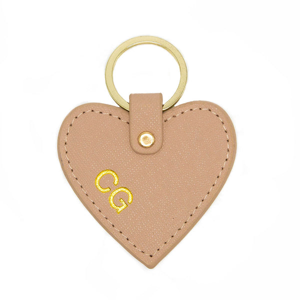 taudrey cross-hatch leather heart shaped key chain personalized embossed gold silver details gold ring blush leather
