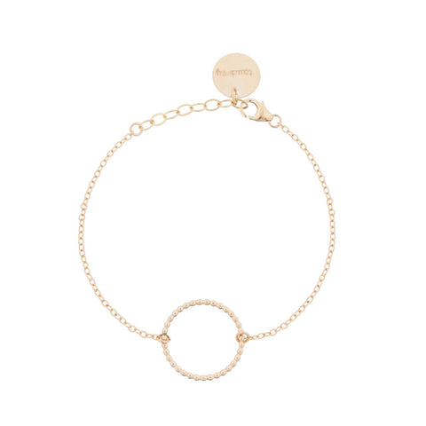 taudrey love loop bracelet dainty gold adjustable bracelet with ribbed gold ring detail
