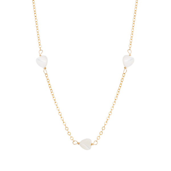 taudrey love to love dainty gold necklace with small heart shaped pearl details