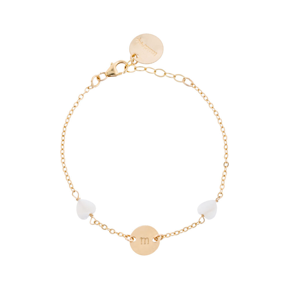 you it personalized gold bracelet pearl hearts detail