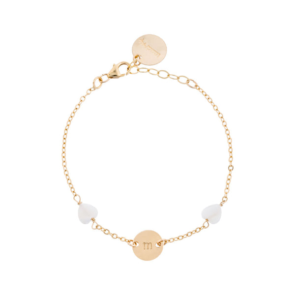taudrey love you mean it bracelet gold dainty bracelet with heart shaped pearls and personalized gold charm