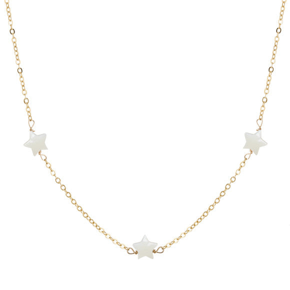 taudrey lucky stars necklace gold chain three pearl stars