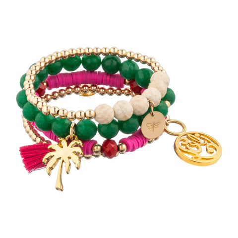 taudrey luli fama collaboration colorful beaded bracelet arm party bold color palette fuchsia pink green gold palm tree personalized