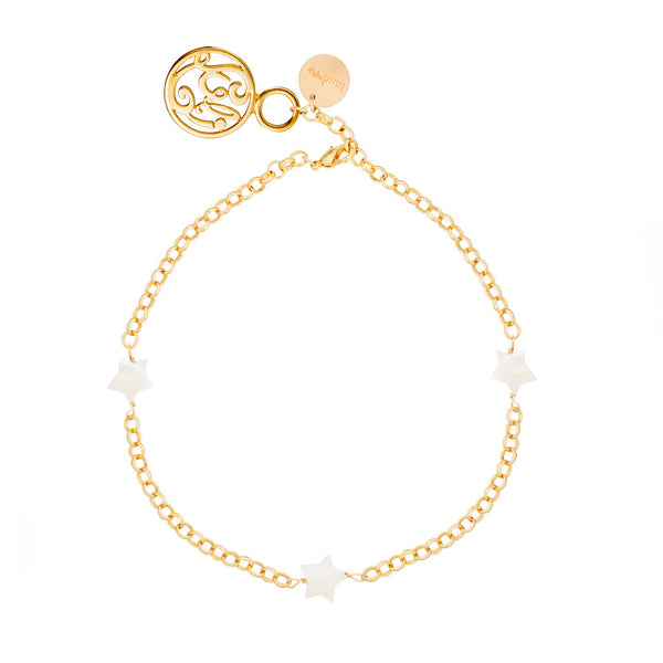 taudrey luli fama vida gold adjustable anklet with star shaped pearl accents
