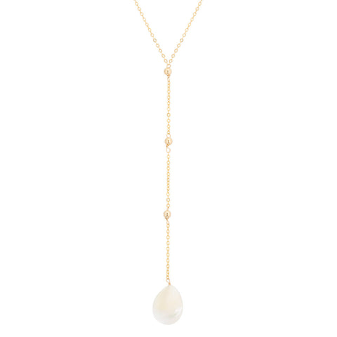 taudrey luli fama collaboration lariat necklace dainty gold with gold bead teardrop shell details