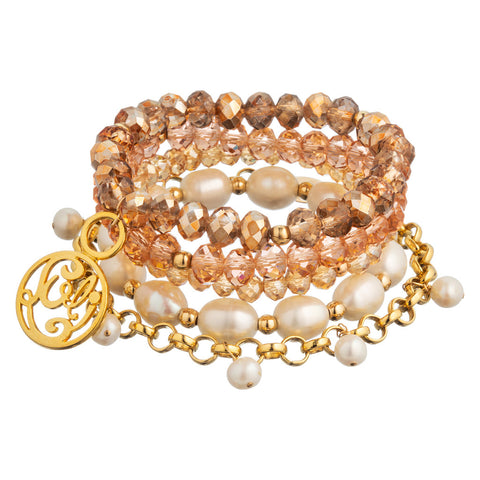 taudrey luli fama collaboration personalized beaded bracelet set varadero beach theme pink blush rose pearl accents