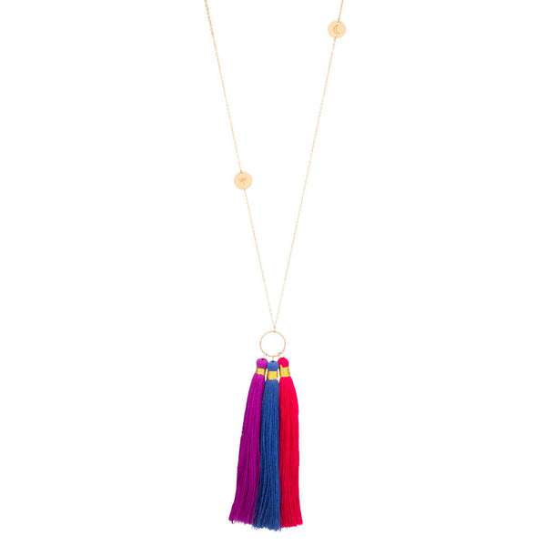 taudrey luli fama collaboration tambores longer style necklace personalized gold charms large tassel details