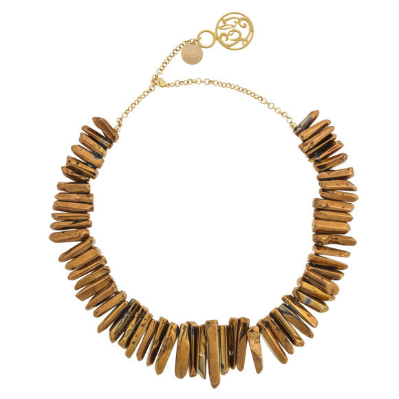 taudrey luli fama jane necklace smooth bronze stone