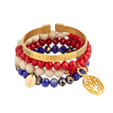 taudrey havana nights blue red gold cuff beaded mixed bracelet set