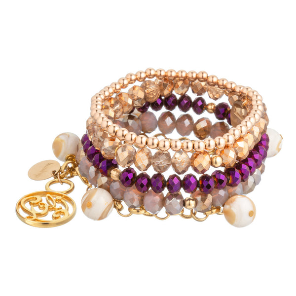 taudrey luli fama collaboration bracelet set buenas noches rose purple pearl theme