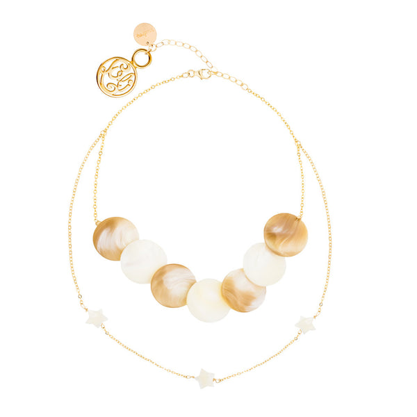 taudrey-luli fama layered celia statement choker sand beige shell dainty gold chain pearl star details