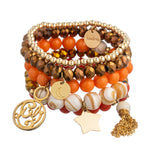 taudrey luli fama mango gold handcrafted beaded bracelet set personalized orange coral bronze beige gold chain tassel