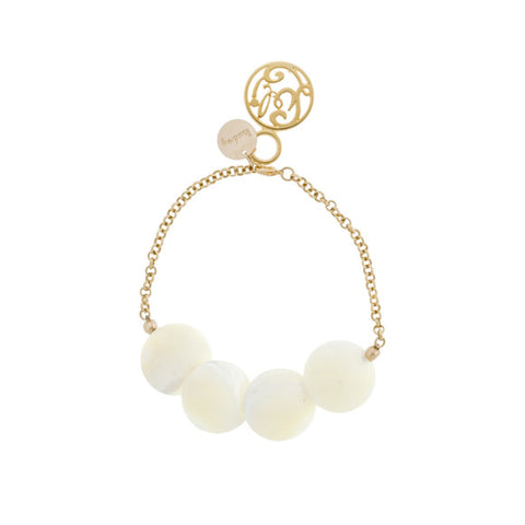 taudrey luli fama shell we bracelet white shell bracelet with gold accents