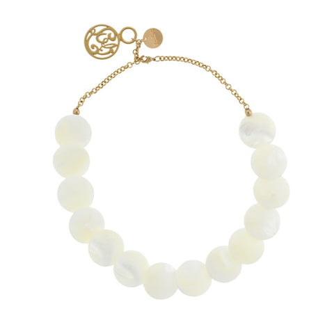 taudrey luli fama shell we choker white shell choker with gold accents