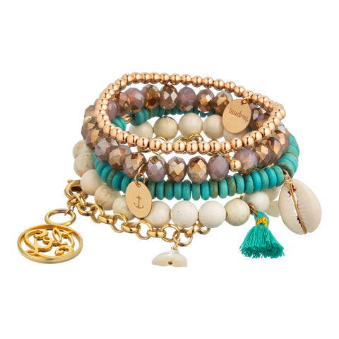 taudrey luli fama sirena bracelet set beaded chain personalized arm party mermaid theme cream lavender turquoise white