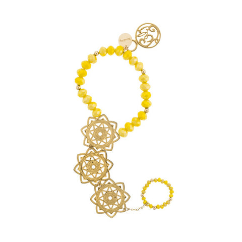 taudrey luli fama take my hand chain bright yellow beads gold flower medallion bracelet ring combination