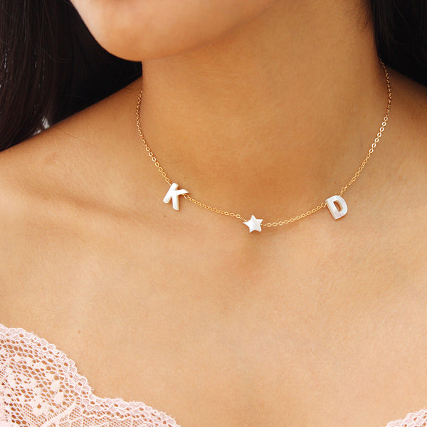 taudrey make it a double necklace pearl initial letters pearl star accent personalized