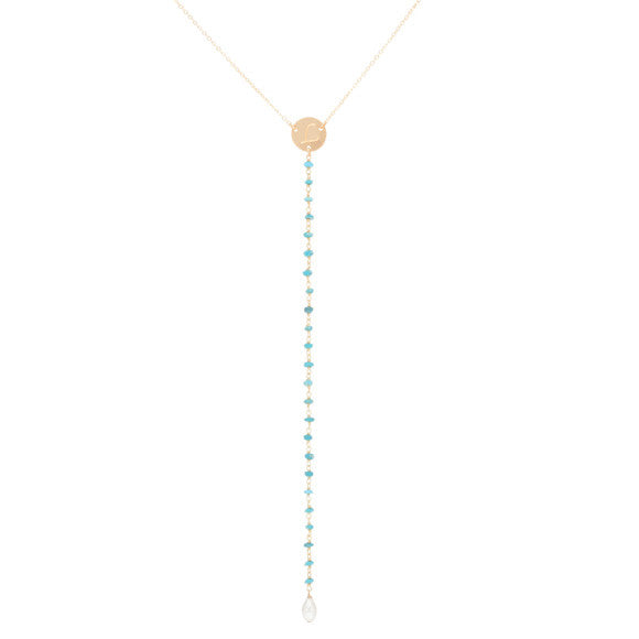 taudrey make waves y chain necklace with personalized gold coin and turquoise pebbles