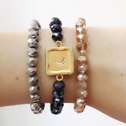 taudrey make your own three piece personalized beaded bracelet set arm party crashers stack gold personalized charm