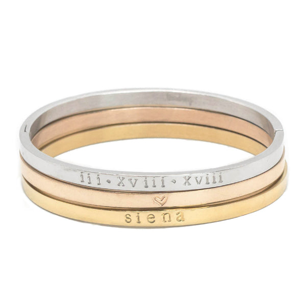 taudrey personalized three tone bangle set gold rose gold silver stack