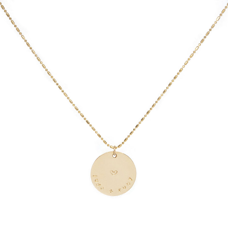 taudrey missing link handcrafted gold necklace textured chain personalized gold charm
