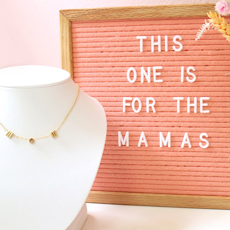 taudrey mom life gold letter mom necklace mothers day mom push present gift